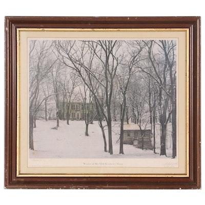 """Richard Zielke Offset Lithograph """"Winter at My Old Kentucky Home,"""" 1975"""