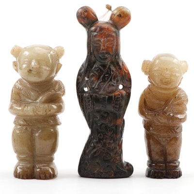 Chinese Carved Jasper and Serpentine Charms