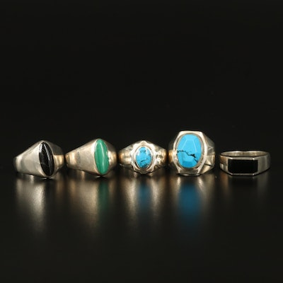 Sterling Rings Including Malachite and Faux Gemstones