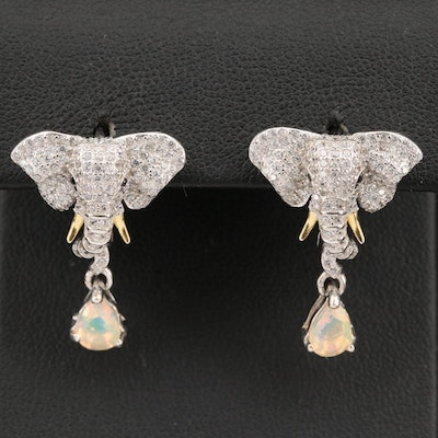 Sterling, Spinel, Opal and Cubic Zirconia Elephant Head Earrings