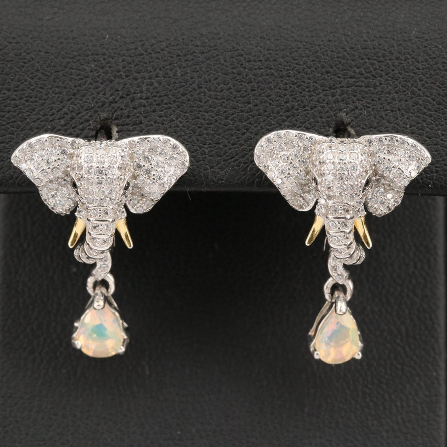 Sterling, Spinel, Opal and Cubic Zirconia Elephant Head Earrings