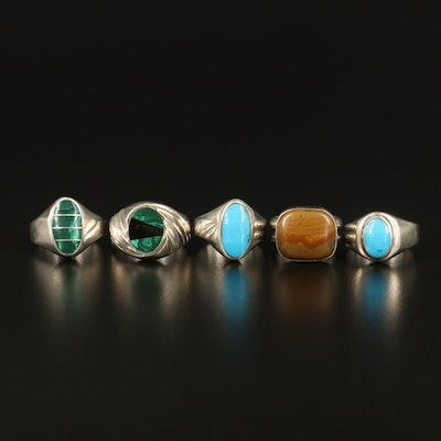 Sterling Rings with Jasper and Faux Gemstones