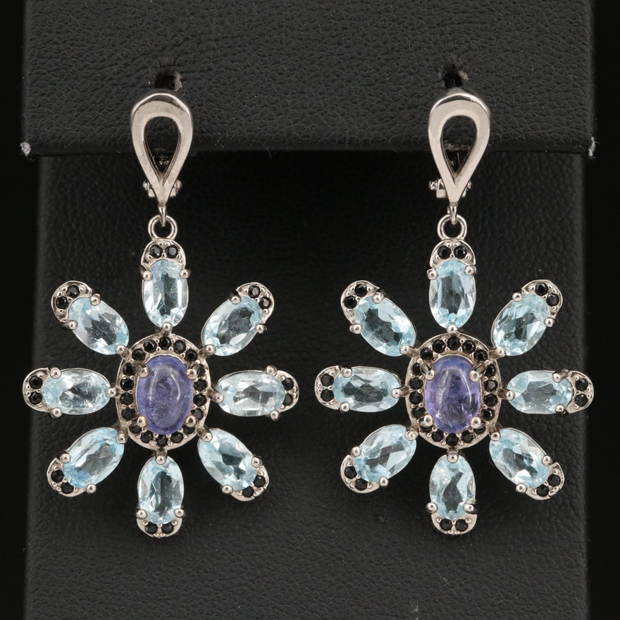 Sterling, Tanzanite and Topaz Dangle Earrings with Cubic Zirconia Accents