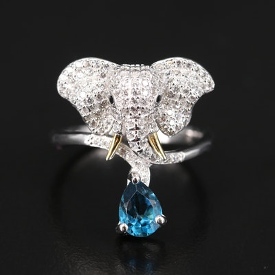 Sterling Pavé Cubic Zirconia Elephant Ring with London Blue Topaz