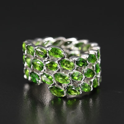 Sterling Silver Diopside Eternity Ring