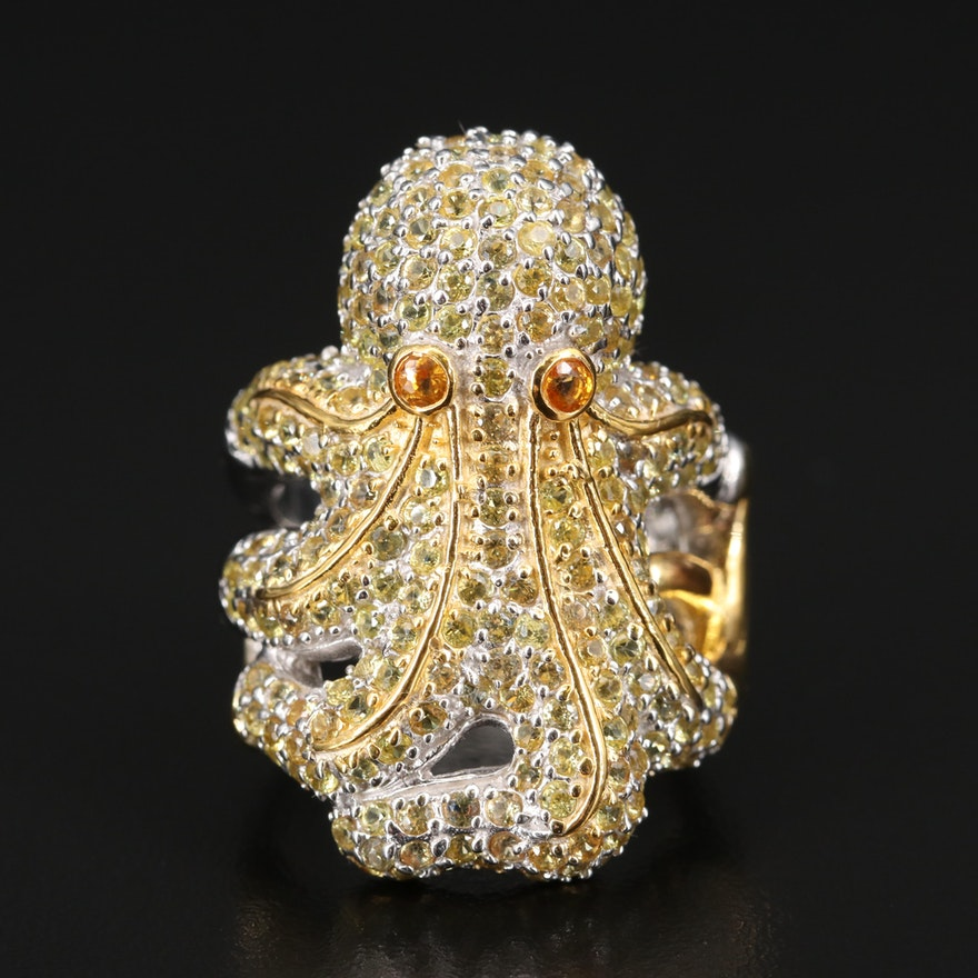 Sterling Silver Sapphire Octopus Ring