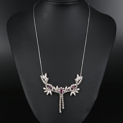 14K Ruby and 1.25 CTW Diamond Foliate Necklace