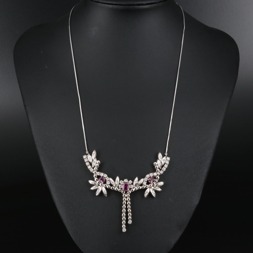 14K Ruby and 1.25 CTW Diamond Foliate Necklace