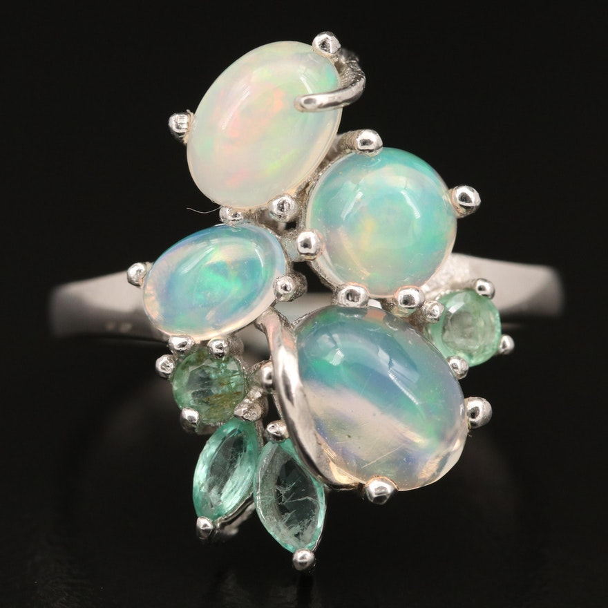 Sterling Silver Opal and Beryl Ring