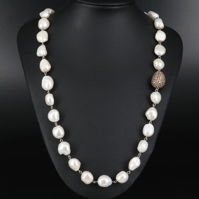 Sterling Silver Pearl Necklace with Pavé Cubic Zirconia Bead Accent