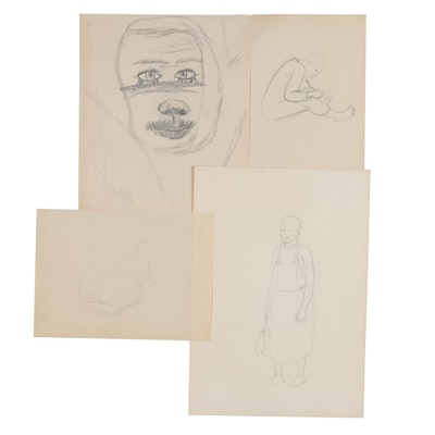 Florence Smithburn Figural Graphite Sketches, Mid-20th Century