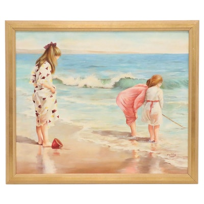 Oil Painting of Children on Beach, 21st Century