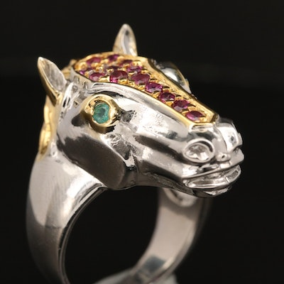 Sterling  Garnet and Emerald Horse Head Ring