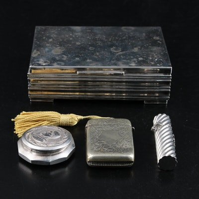 Hans Jensen 833 Silver Cigarette Box with Sterling Needle Holder and More