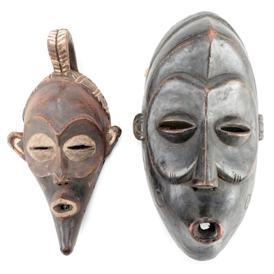Lulua Inspired Carved Wood Masks, Central Africa