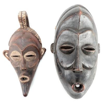 Lulua Inspired Carved Wood Masks, Central Africa