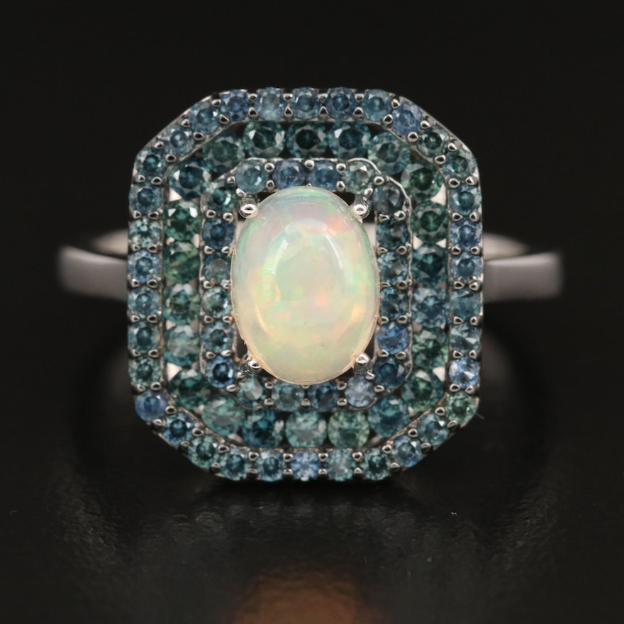 Sterling Silver Opal and Sapphire Triple Halo Ring