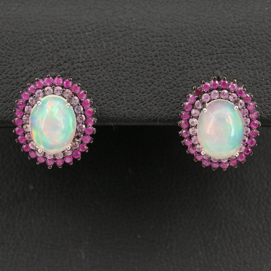 Sterling Silver Opal, Ruby and Sapphire Halo Earrings