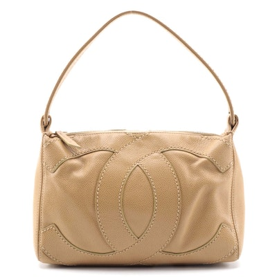 Chanel CC Stitch Shoulder Bag in Beige Caviar Leather