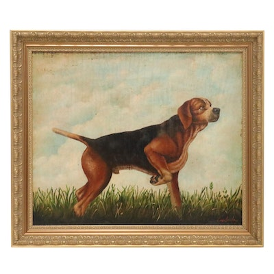 Oil Painting of Beagle, Mid-Late 20th Century