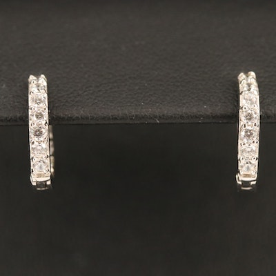 Sterling Silver Cubic Zirconia Inside-Out Hoop Earrings