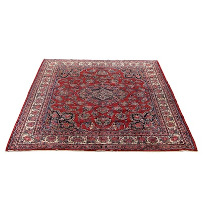 10'8 x 12'6 Hand-Knotted Persian Qazvin Room Sized Rug, 1970s