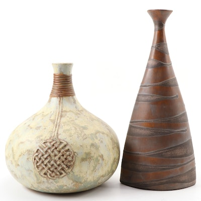 Decorative Textured Ceramic Vases, Contemporary