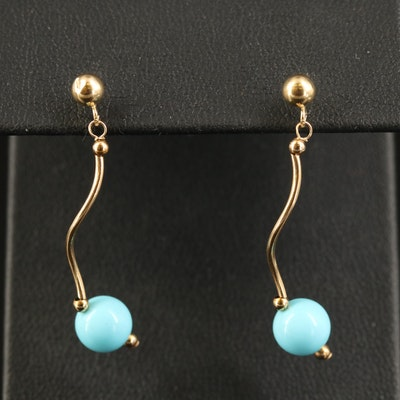 14K Imitation Turquoise Dangle Earrings