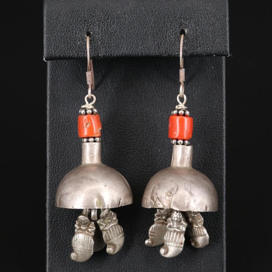 800 Silver Coral Dangle Earrings