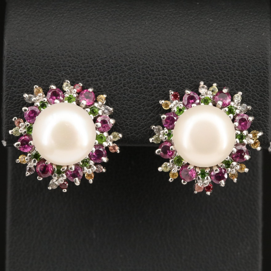 Sterling Silver Pearl, Garnet and Sapphire Earrings