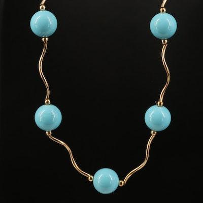 14K Glass Station Necklace