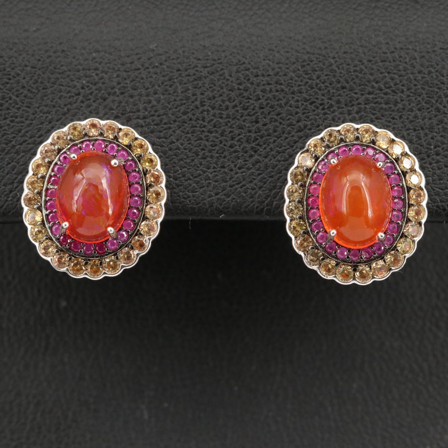 Sterling Silver Opal, Sapphire and Ruby Halo Earrings