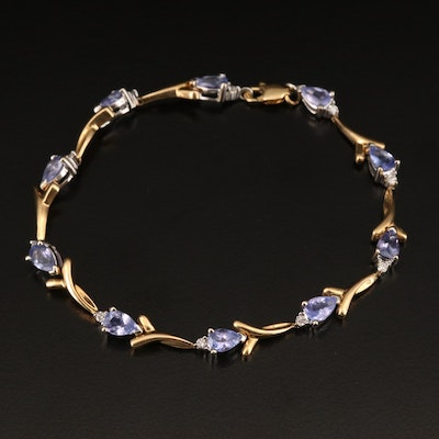 18K Tanzanite and Diamond Ribbon Link Bracelet