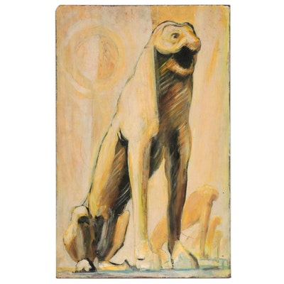 Oil Painting of Animalistic Figures, Mid-20th Century
