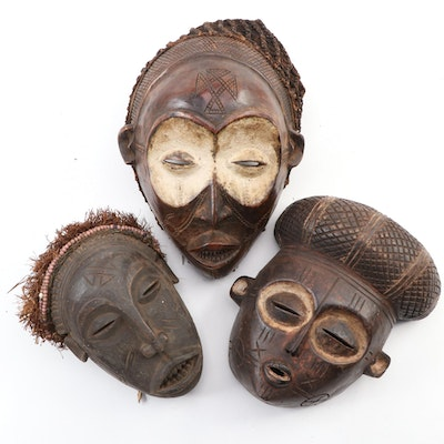 Chokwe Inspired Carved Wood Masks, Central Africa