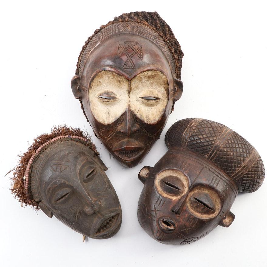 Chokwe Inspired Carved Wood Masks, Central Africa