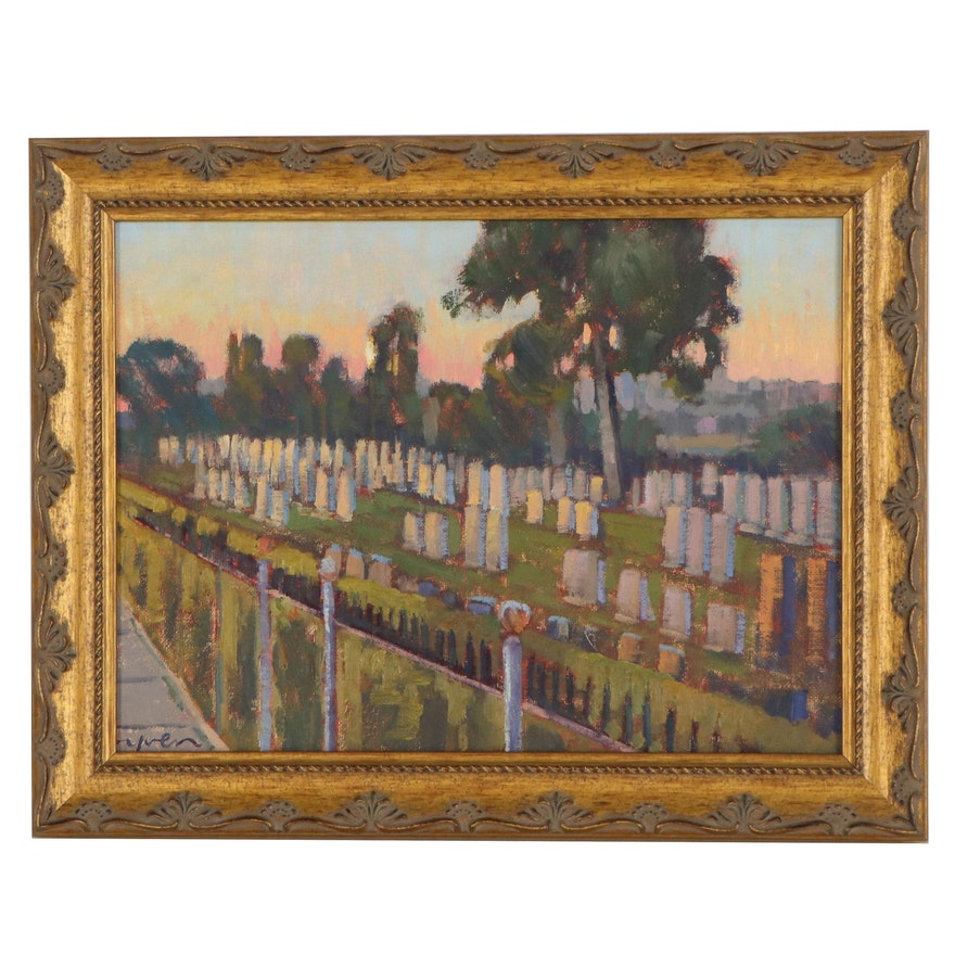 """Kevin Yuen Oil Painting """"Mt. Hope Cemetery, San Diego, CA,"""" 2020"""