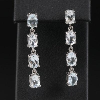 Sterling Silver Aquamarine Drop Earrings