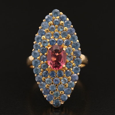 18K Tourmaline and Sapphire Navette Ring