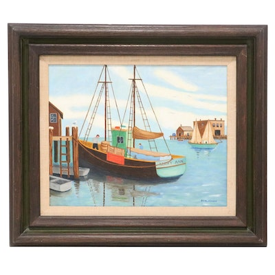 Acrylic Painting of Harbor, Late 20th Century