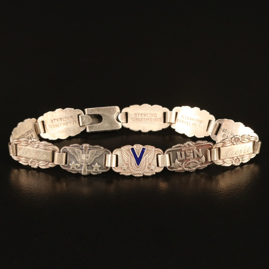 "1940s Sterling Silver ""Forget Me Not"" Bracelet"