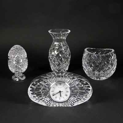 Waterford Crystal Oval Desk Clock and Other Table Accessories, Late 20th Century