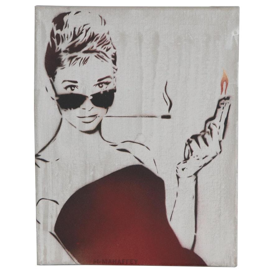 Mr. Mahaffey Stenciled Street Art Style Mixed Media Painting, 21st Century
