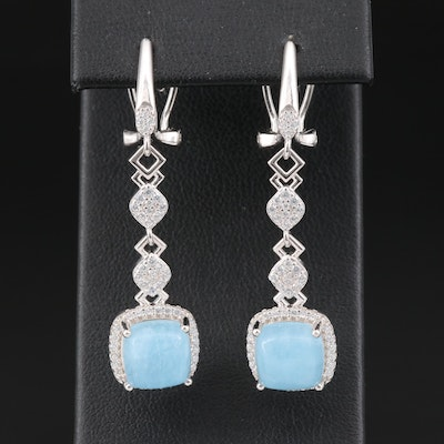 Sterling Silver Beryl and Cubic Zirconia Drop Earrings