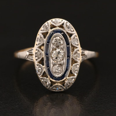 Early Art Deco Platinum and 18K Diamond and Sapphire Ring