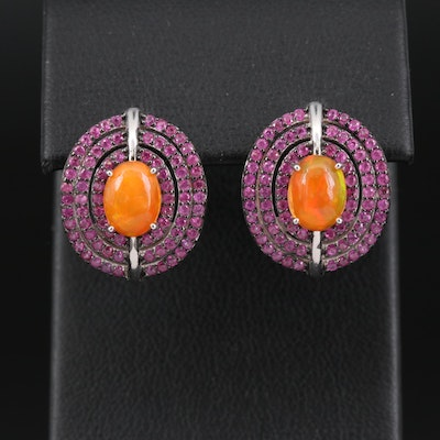 Sterling Silver Opal and Pink Sapphire Earrings