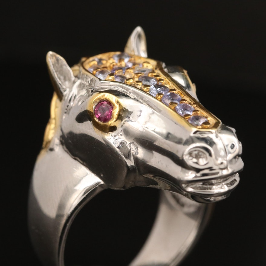 Sterling Silver Tanzanite and Garnet Horse Head Ring