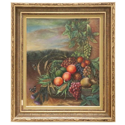 Zygmunt Namian Still Life Oil Painting of Fruit, Mid-20th Century