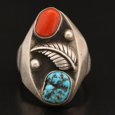 Western Style Sterling Turquoise and Coral Ring