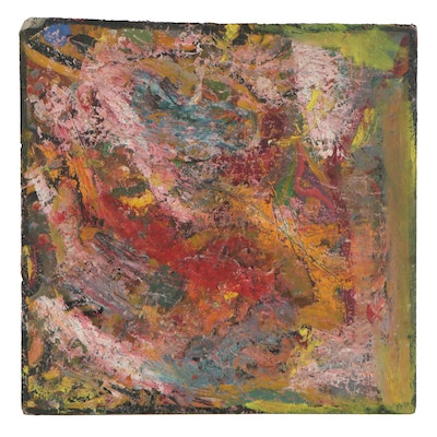 Chuck Barr Abstract Impasto Oil Painting, Late 20th Century